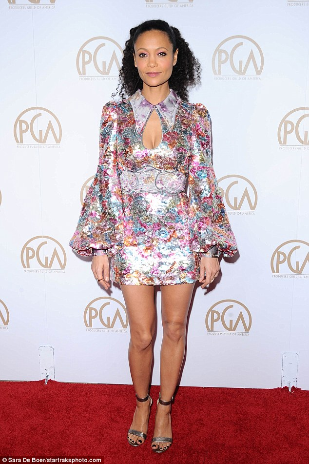 Thandie Newton looking gorgeous as ever in short sparkle mini dress 3c9d4410
