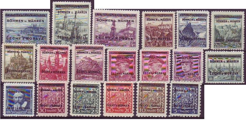 suche Böhmen u. Mähren nr. 1 - 19  M_1-1910
