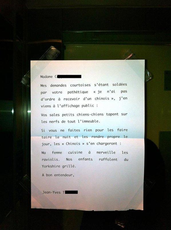 Ses voisins l'empéchent de dormir ,il placarde cette lettre sur leur mur Mots_v10