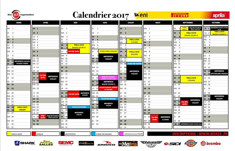 Calendriers Circuits 2017 Box2310