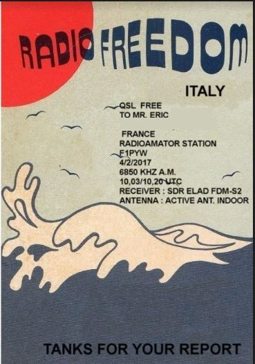 eQSL de radio freedom italia Rafri110