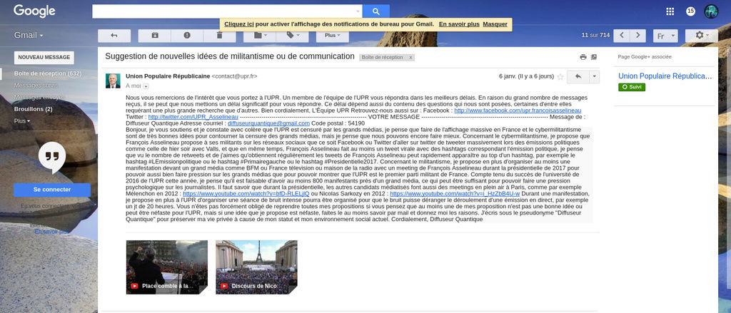 J'ai proposé à l'UPR d'organiser une manifestation devant les médias, il est peut être possible que j'ai réussi à convaincre l'UPR. Screen10
