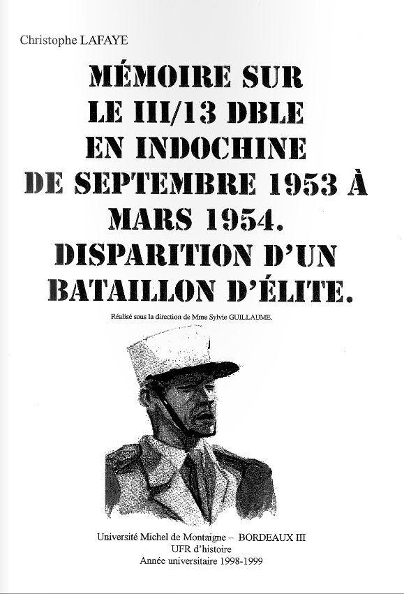 Le III/13e DLE en Indochine de septembre 1953 à mars 1954. 110