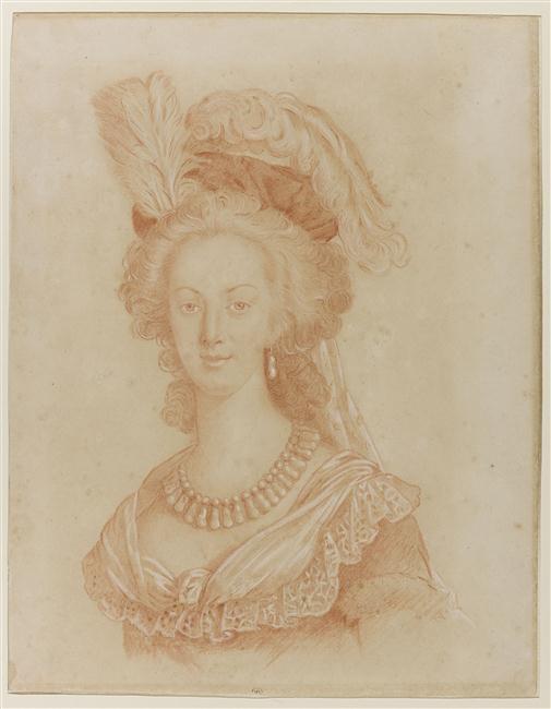Marie-Antoinette en robe rouge sans ses enfants Buste_10