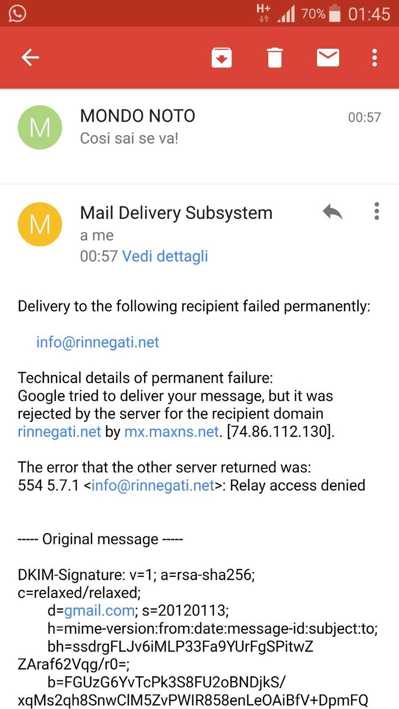 #8398 Mancata ricezione delle e-mail sulla casella collegata al dominio Errore10