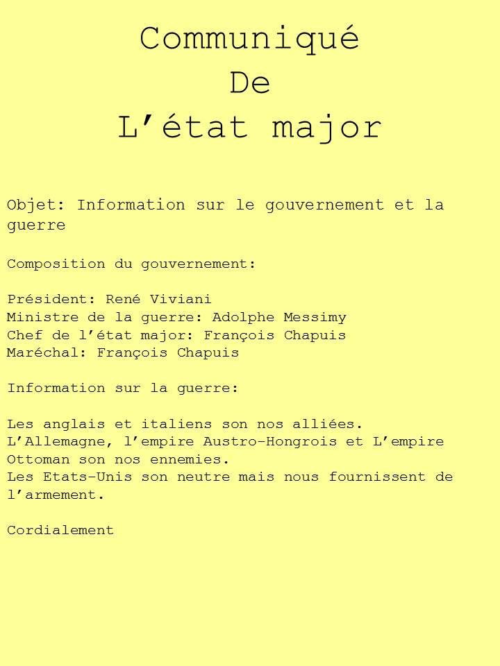 Information de guerre et du gouvernement 1210