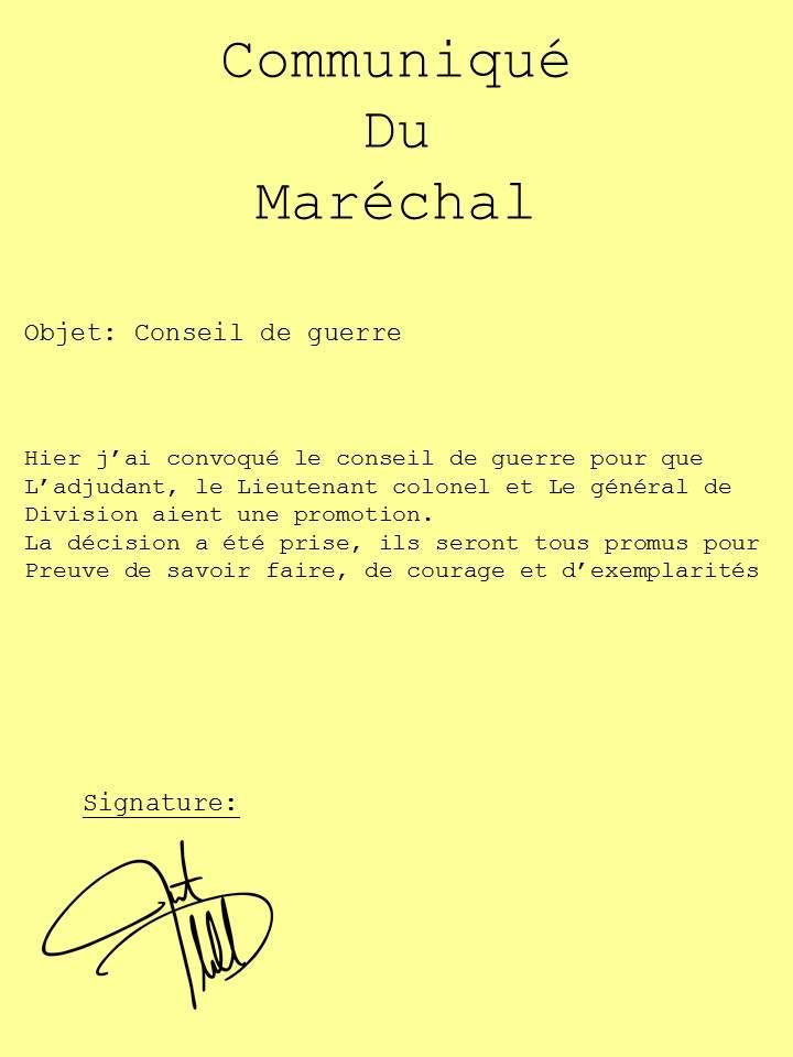 Comuniqué du Maréchal pour le conseil de guerre Commun11