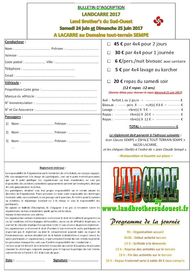 LANDCARRE 2017 - 3ème Eddition  Inscri10
