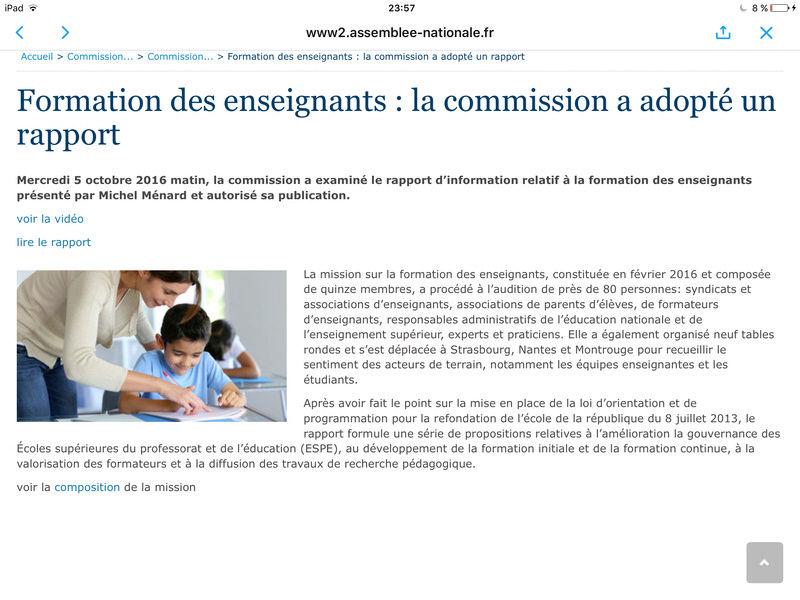 Publication du rapport de l'Assemblée Nationale sur la formation des enseignants  Image33