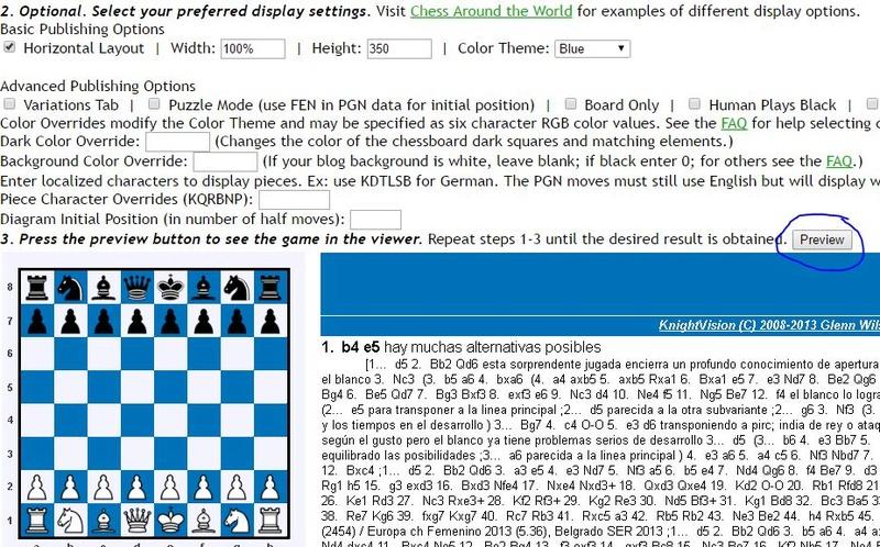 Tutorial: Insertar una partida analizada PGN (Visor KnightVision) Visor210