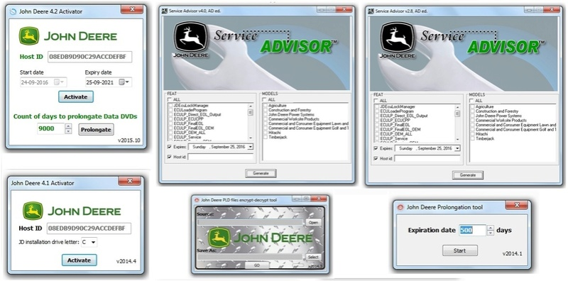 John Deere Service Advisor Collection Activators,KG,Keymaker And other Tools Jhon_d10