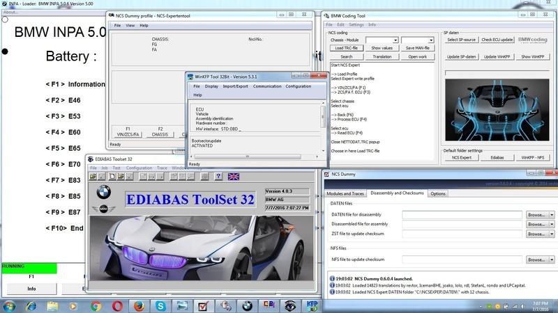BMW Coding and Diagnostics Inpa EDIABAS NCS WinKFP Coding Tool USB Drivers S-l16010