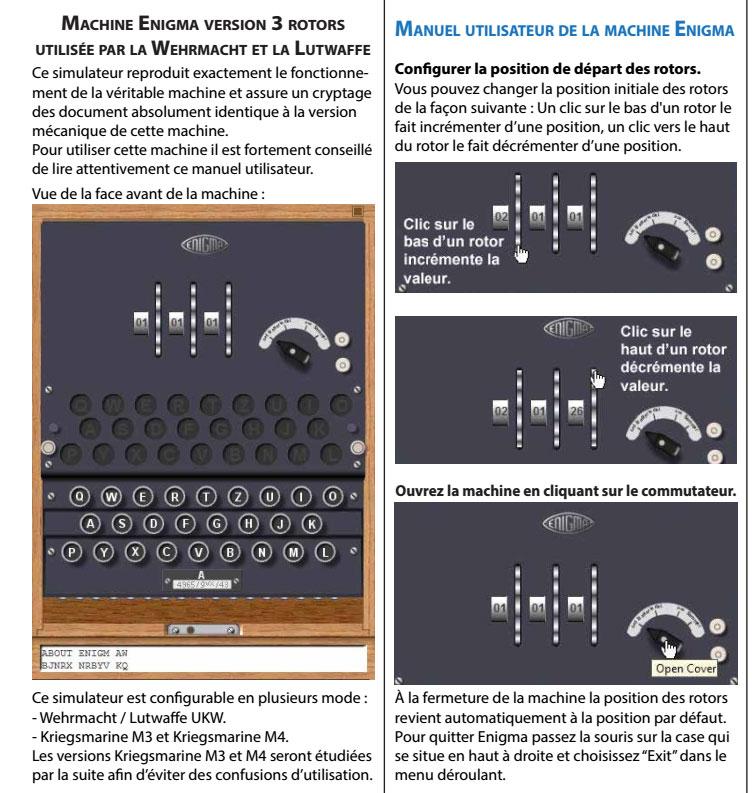 Mode d'emploi de la machine Enigma traduit par Adri - les 6 premières pages E110
