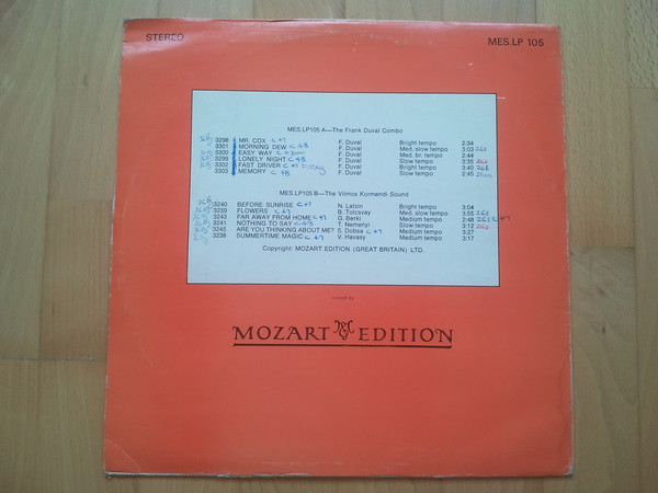 "Сборник ""Frank Duval Combo, The / Vilmos Kormendi Sound, The ‎– Sigs & Sessions Vol. 27 "" Mozart11"