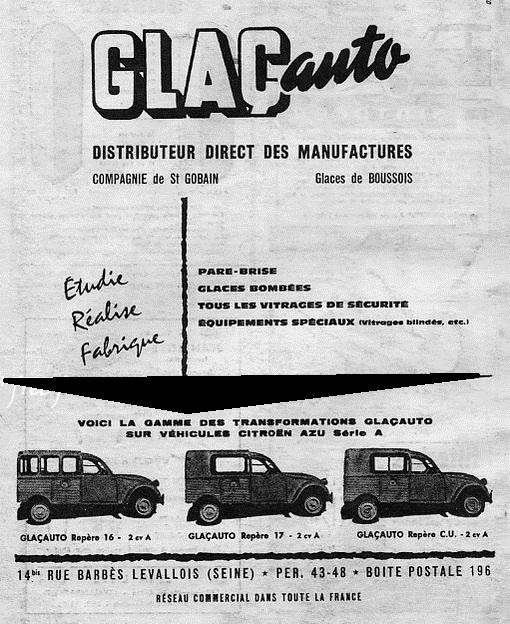 Les accessoires d'époque pour CITROËN 2CV :  Glaçauto 2109