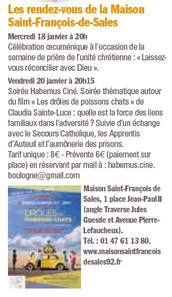Evènements proposés par la Maison Saint François de Sales Clipb109