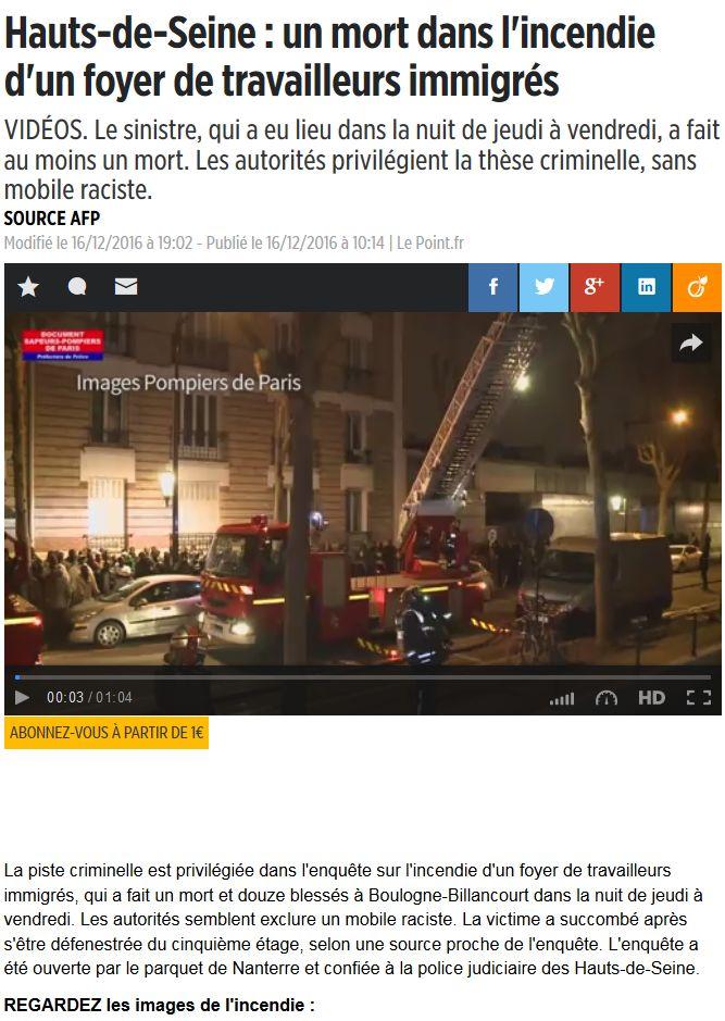 Incendie foyer des jeunes travailleurs rue Nationale Clipbo32
