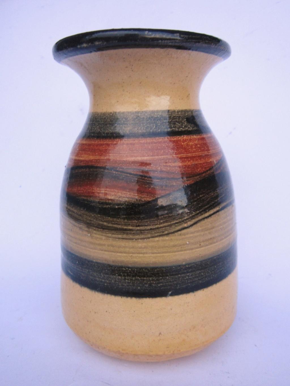 Banded glazed studio vase with ink stamp -  Bloomington  Pottery Company Dev111