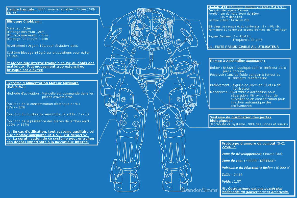 """Prototype d'armure de combat """"X-01 2258-17"""" Bluepr10"""