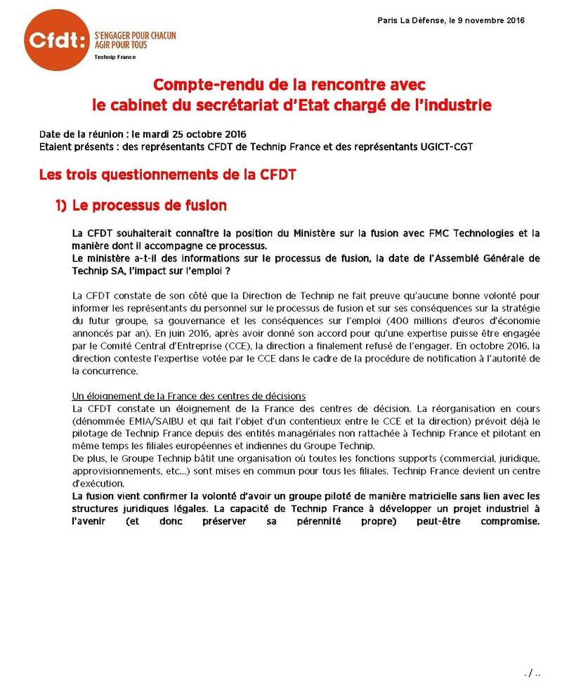 (2016-11-09) - COMPTE-RENDU DE LA RENCONTRE AVEC LE CABINET DU SECRETARIAT D'ETAT CHARGE DE L'INDUSTRIE Compte11