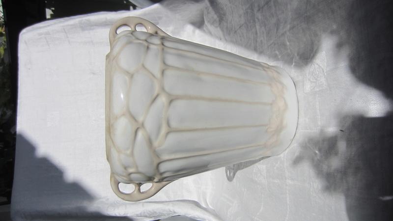 Art Nouveau glazed ceramic flower pot / vase / jardiniere signed W or M  Img_7317