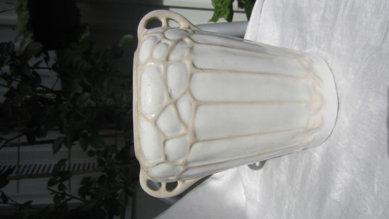 Art Nouveau glazed ceramic flower pot / vase / jardiniere signed W or M  Img_7319