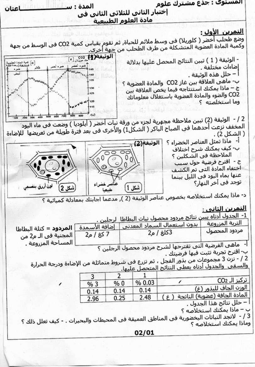 اختبار الفصل الثاني في علوم الطبيعة و الحياة  جذع مشترك علوم  (1) 10241210
