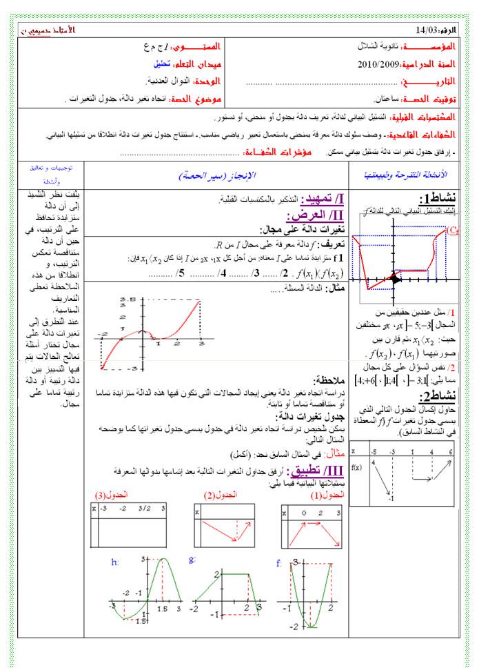 مذكرة 3 في التحليل - اتجاه تغير الدالة - جدول التغيرات - الرياضيات السنة الاولى ثانوي علوم Bandi132