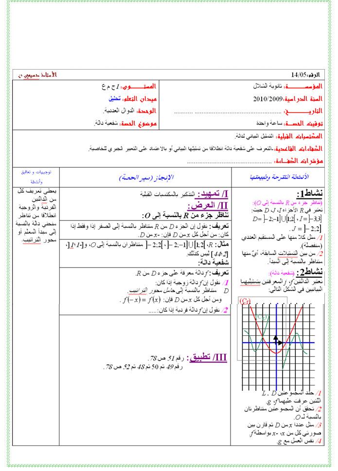 مذكرة 5 في التحليل - شفعية الدالة - الرياضيات السنة الاولى ثانوي علوم Bandi134