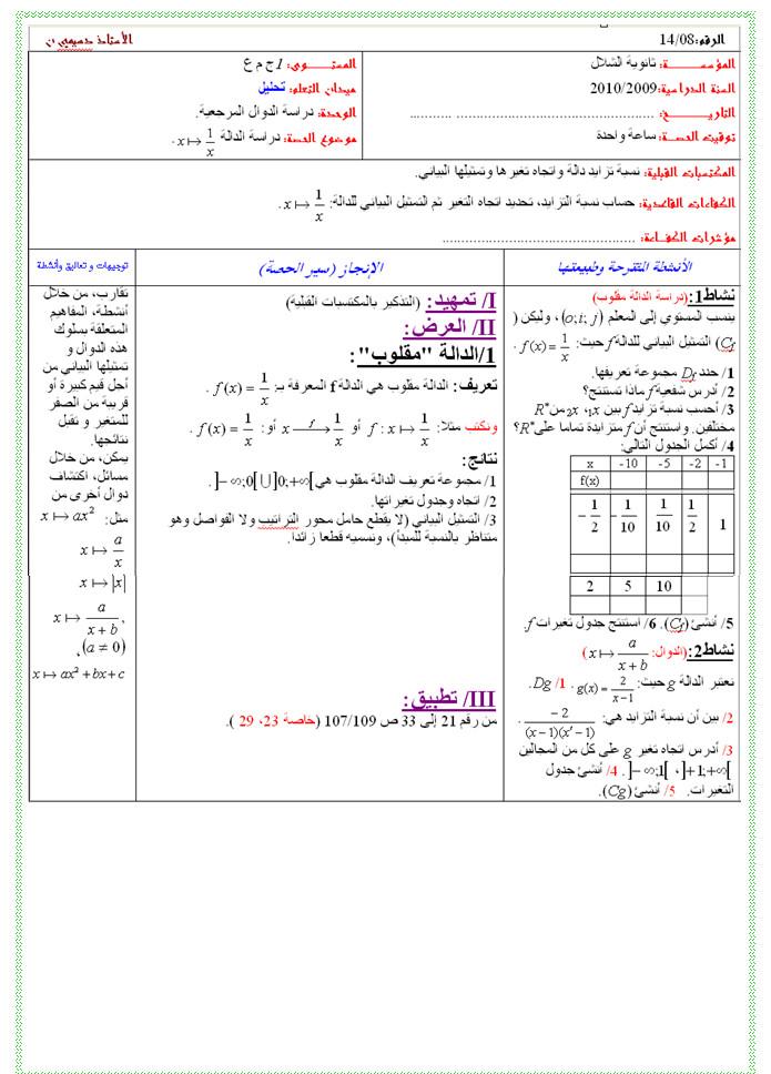 مذكرة 8 في التحليل: الدوال المرجعية: دراسة الدالة x==>1/x - السنة الاولى ثانوي علوم Bandi137