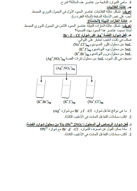 بطاقة العمل التطبيقي 7 في الفيزياء : تطبيقات حول الجدول الدوري للعناصر السنة الاولى ثانوي علوم Bandic36