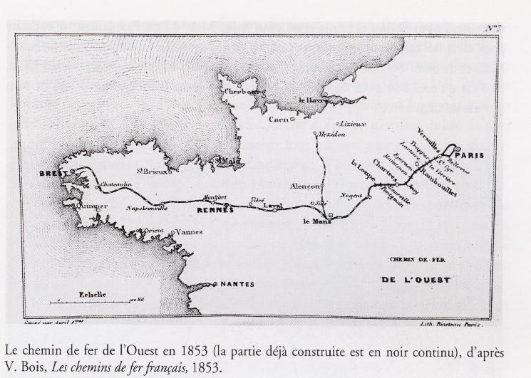 Projet du Chemin de fer de l'Ouest de ligne par lecentre Bretagne Carte_10