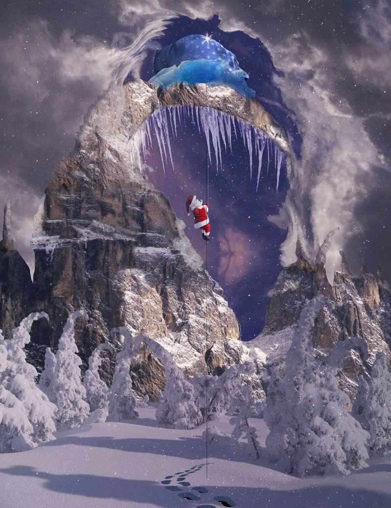 Christmas gift mountain Santa11