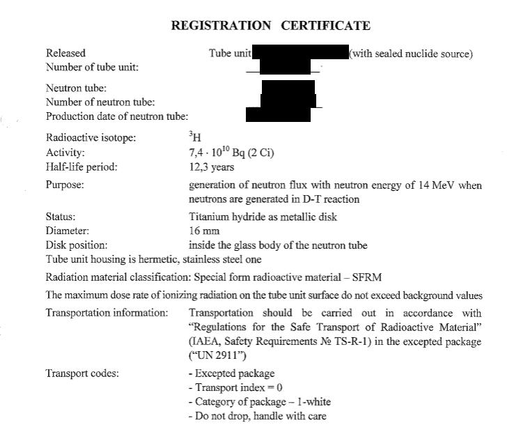 tritium et limite d'activité pour colis excepté Certif10