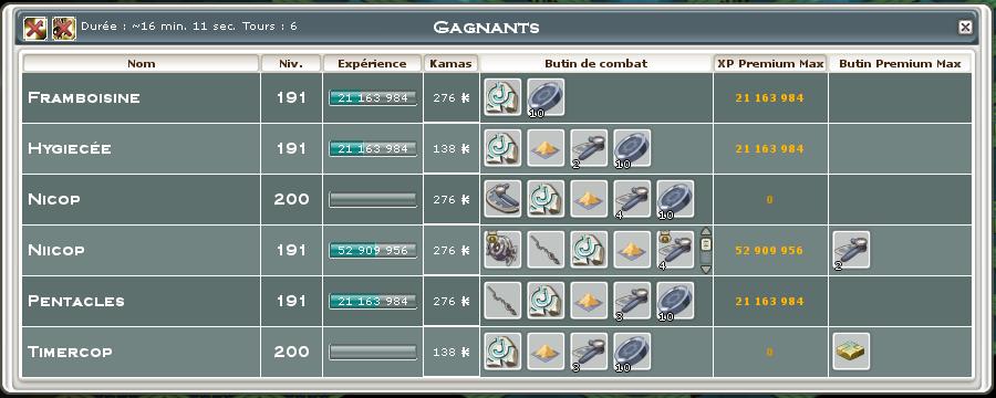 Screenshot des loot à partager entre guildeux Boucli10