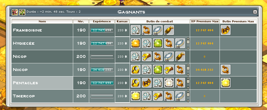 Screenshot des loot à partager entre guildeux Rune10