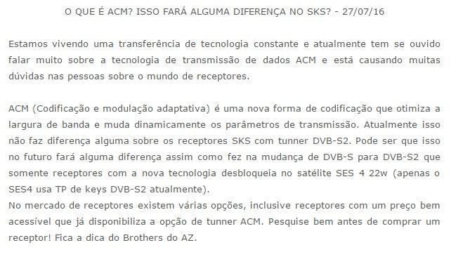 o que é ACM em Receptores Acm10