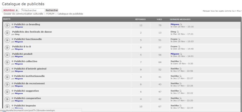 Catalogue- capture d'écran FORUM Forum10