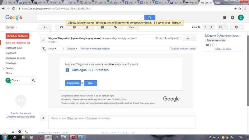 Catalogue- capture d'écran GOOGLE DOCS Gmail10