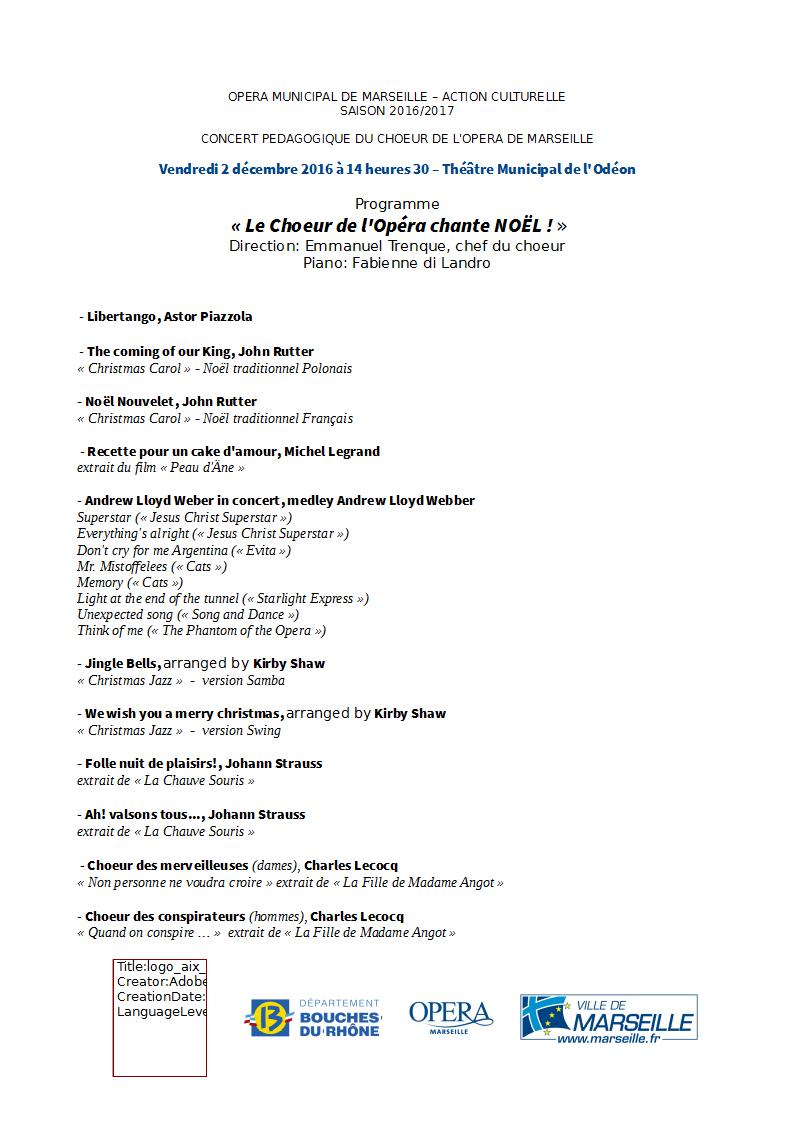 Concert choeur lyrique à l'ODEON Progra13
