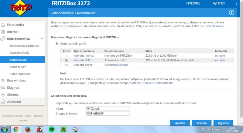 Problemi memoria usb FRITZ!Box 3272 Cattur15