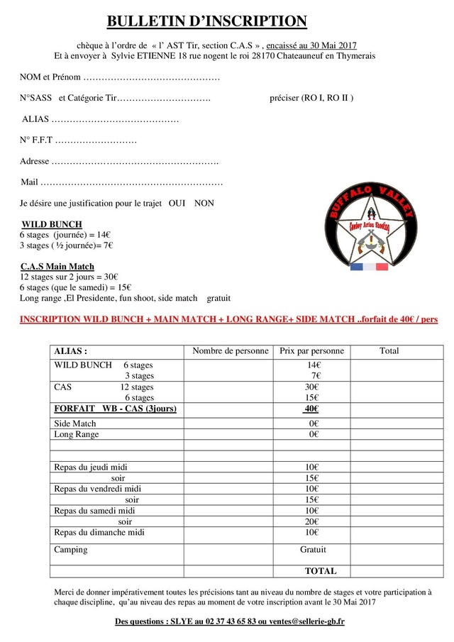 """BUFFALO VALLEY"" du 8 au 11 Juin 2017 bulletin d'inscription Inscri11"