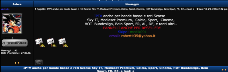 Forum Illegal Sale IPTV Sky Pirate, and more
