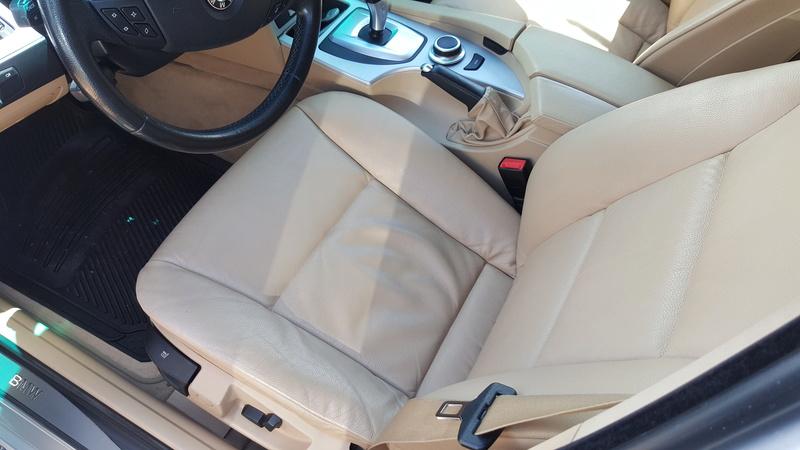 Pulizia interni pelle beige BMW E61 20160510