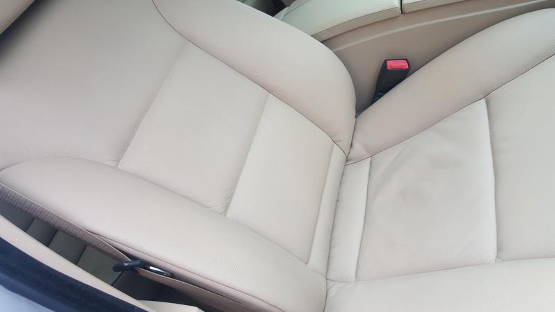 Pulizia interni pelle beige BMW E61 20161010
