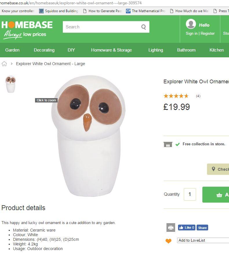 Large simple Owl ornament - Asian Import, Homebase retailer  Homeba10