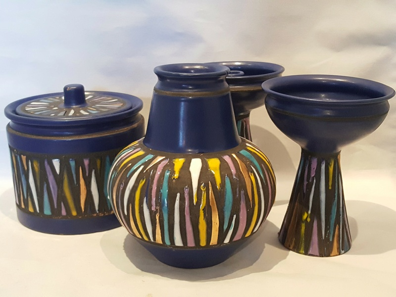 Midcentury Italian Cobalt Pieces with Multicolor Geometric Pattern Glazes 20170129