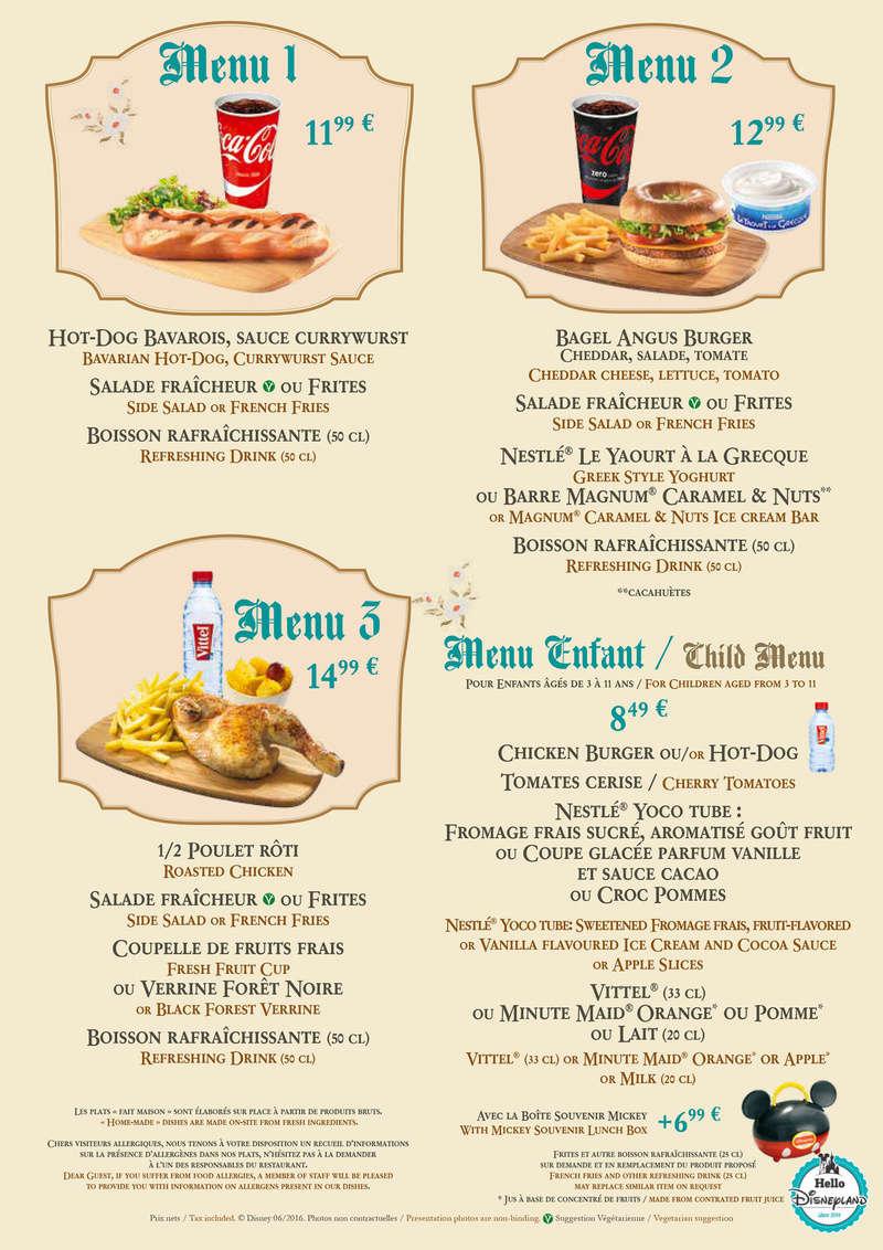 Cartes des restaurants de Disneyland Paris Chalet10