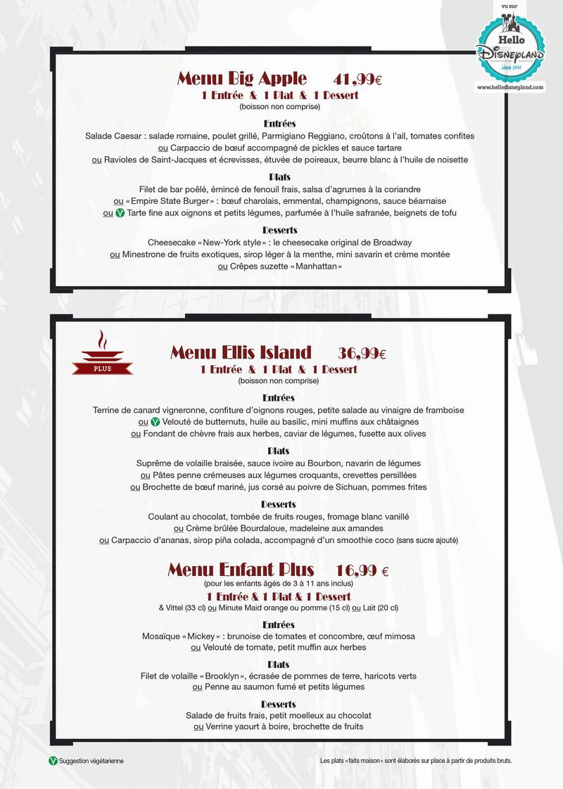 Cartes des restaurants de Disneyland Paris Menu-r11