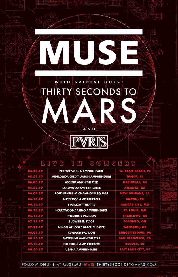 Muse + Thirty Seconds To Mars : Tournée aux USA de mai à septembre 2017  16387210